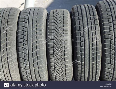 Different Profiles Of Motor Car Tires Stock Photo