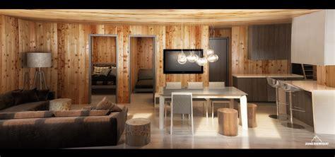 cuisine en sous sol zone sismique bois hamel chalet interieur salon cuisine