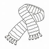 Scarf Outline Wool Vector Scarves Striped Shawls Colouring Illustration Yellow Coloring Template Pages Symbol Single Icon Woollen Sketch Web sketch template