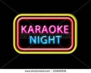 Karaoke Night Colorful Neon Stock Illustration