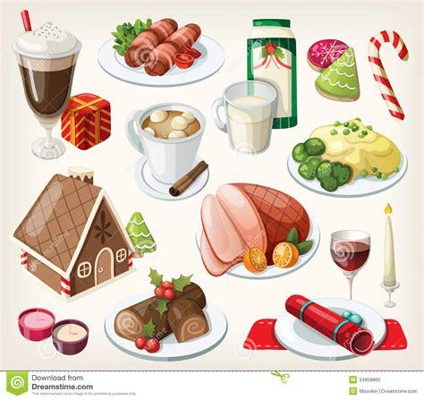 traditional christmas clip set set of traditional christmas food stock vector image 34959860