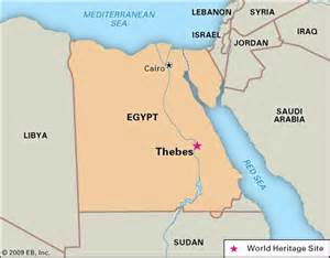 City of Thebes Ancient Egypt Map