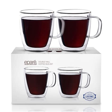 The mugs come in a set of four to allow you to serve a small family. Epare Coffee Mugs - Clear Glass Double Wall Cup Set - Insulated Glassware - Best Large Coffee ...