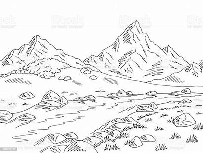 River Mountain Sketch Landscape Graphic Coloring Mountains
