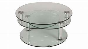 Table Verre Ronde : grande table basse en verre ronde 3 plateaux table basse design en verre ~ Teatrodelosmanantiales.com Idées de Décoration