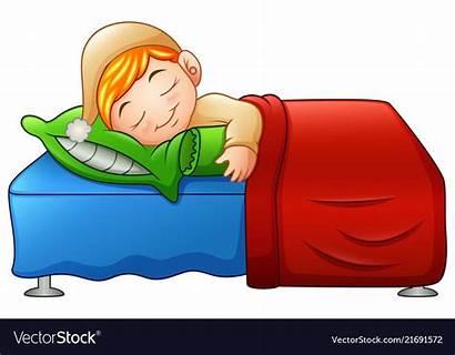 Sleeping Bed Cartoon Boy Vector Vectorstock Children