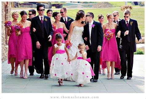 hot pink and black wedding theme via http