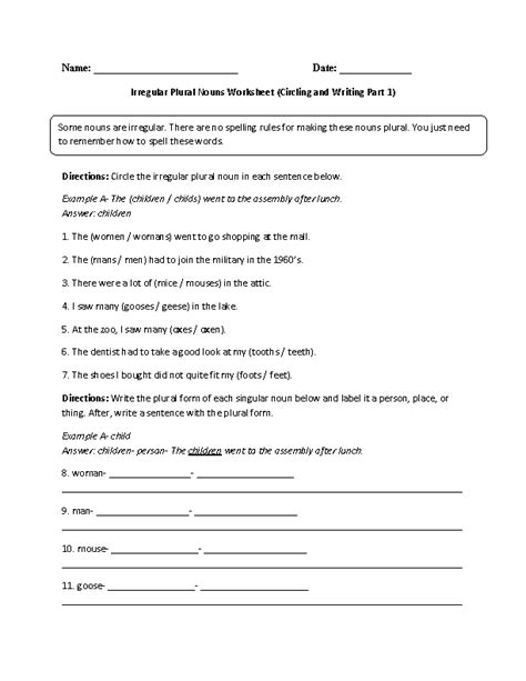 irregular plural nouns worksheets 6th grade 3rd grade