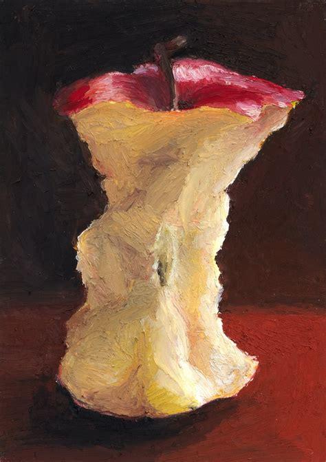 apple core in oil pastel