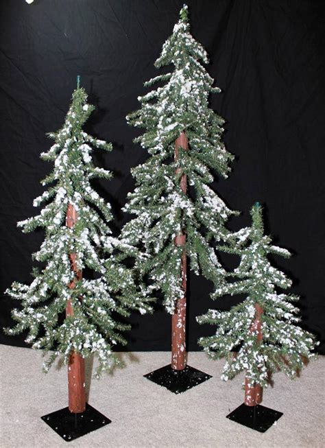 new lot set of 3 snow covered alpine christmas tree trees