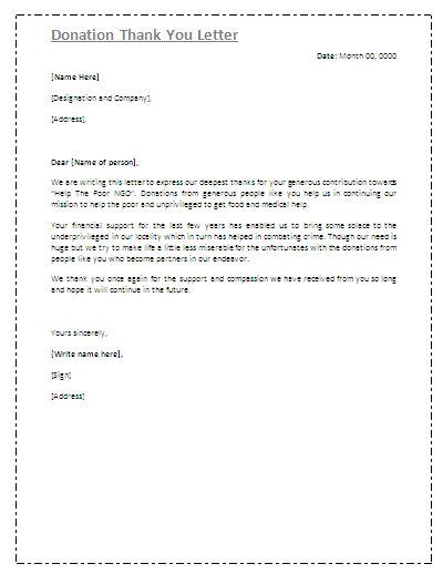 Printable donation thank you letters. Donation Thank You Letter - Thank you letters to your ...