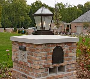 i love this lantern on the brick column with mailbox and With outdoor lights for driveway columns