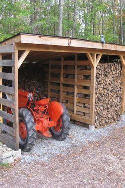tractor  wood shed tractorwagonwheelbarrow