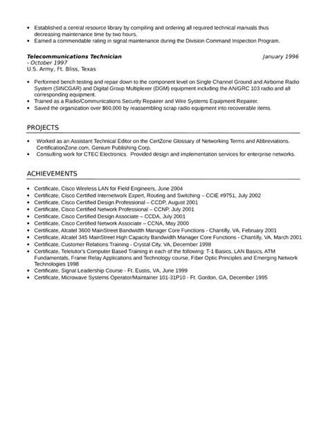 telecommunications technician resume sales