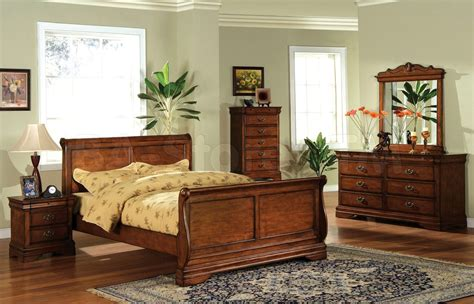 venice dark oak sleigh bedroom set  felt lined top