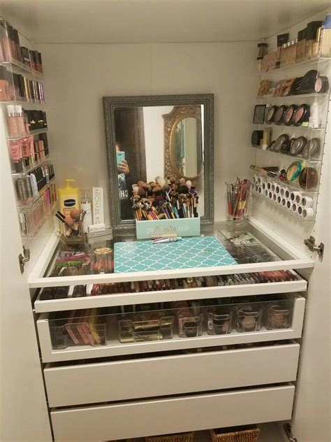 ikea hack makeup storage  pax system organization