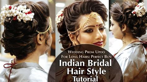indian bridal hair style perfect long hair bun tutorial