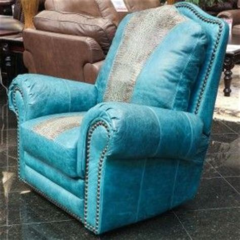 teal and crocodile embossed leather recliner