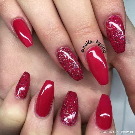 rote nägel mit steinchen rote n 228 gel mit glitzer