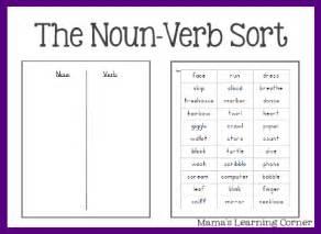 parts  speech worksheets  nounverb sort