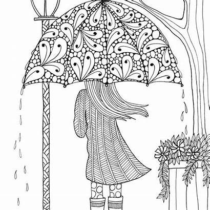 Coloring April Pages Pretty Umbrella