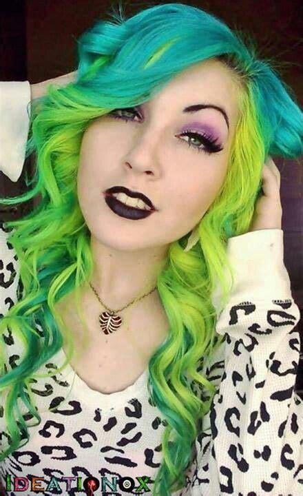 Neon Green Yellow Blue Hair Curling Wand Curls ખḯℓɗ