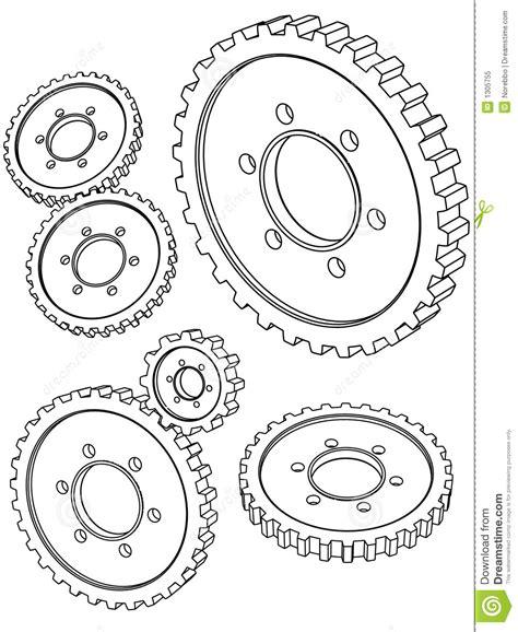 vector  drawing   gears stock vector