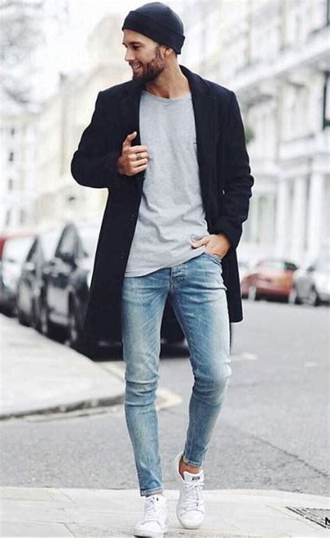 Picture Of Light Blue Skinny Jeans With A Grey Shirt And A Coat