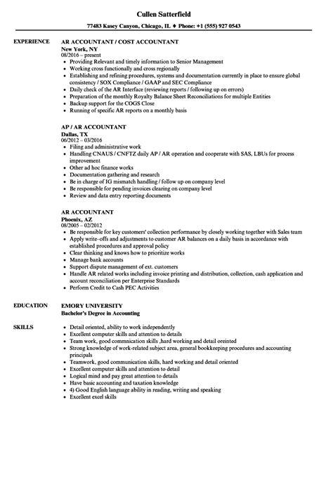 Ar Resume by Ar Accountant Resume Sles Velvet