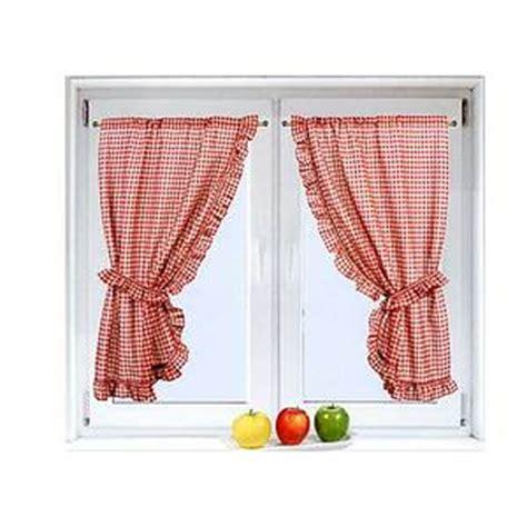 paire de petits rideaux carreaux vichy rouge 75x160cm 192