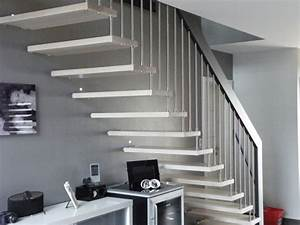 Escalier Droit Bois : escalier droit design bois inox peint bicolore blanc et ~ Premium-room.com Idées de Décoration
