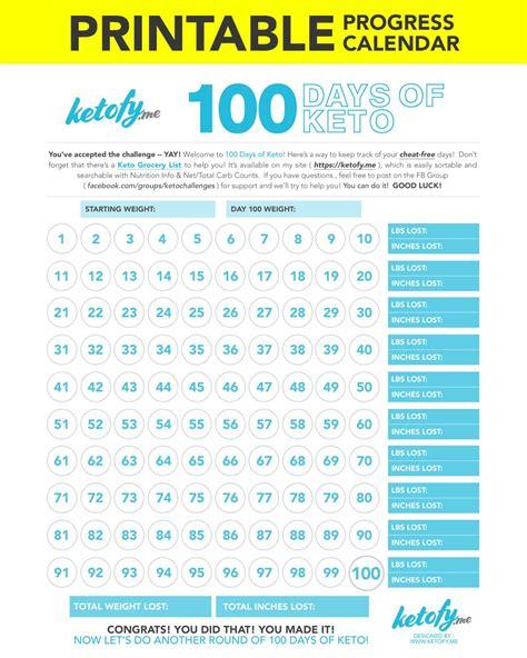 ketofyme days keto print printable progress calendar