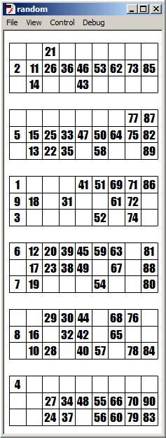 arrays  bingo ticket generator stack overflow