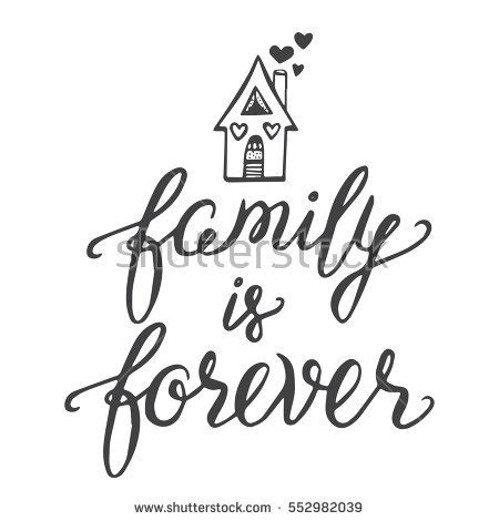 Vector Calligraphy Family Forever Hand Brush Stock Vector