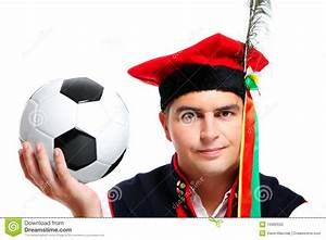 Polish Man In A Traditional Outfit With Football Stock ...