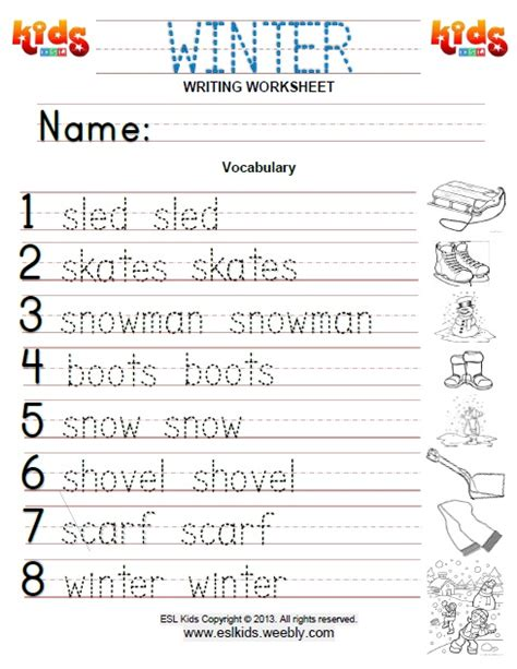 winter writing worksheets for kindergarten kidz activities