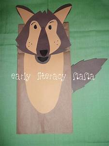 kids craft wolf paperbag puppet get crafty pinterest With wolf puppet template
