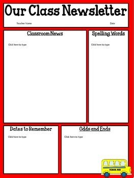 free classroom newsletter templates free editable classroom newsletter template power point tpt
