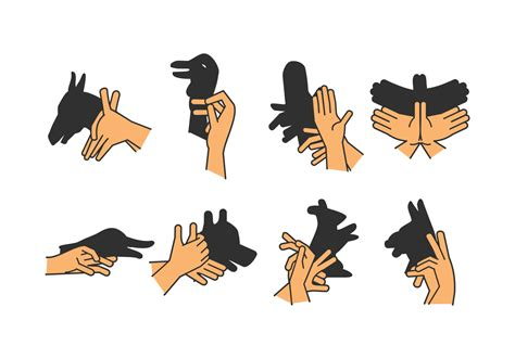 set of shadow puppet vol 3 free vector