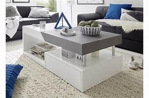 Table Basse Blanc Gris : table basse blanc laqu mat gris b ton ~ Teatrodelosmanantiales.com Idées de Décoration