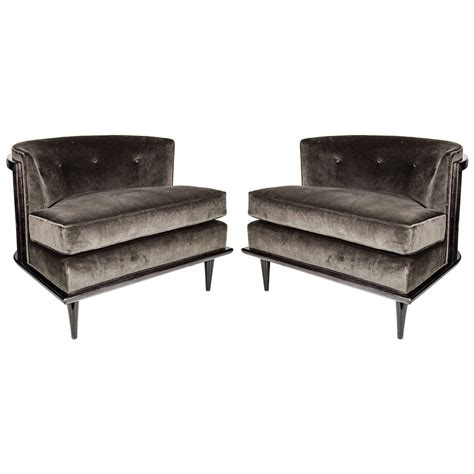 pair of luxe mid century modern barrel back slipper chairs