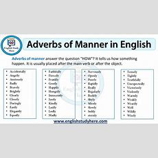 Adverbs Of Manner In English  English Study Here