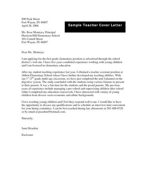 cover letter exles for teachers application letter for teaching pdf