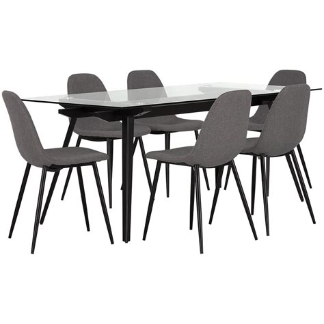city furniture gray glass table 4 upholstered chairs