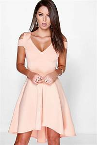 clea bardot plunge high low skater dress at boohoocom With robe longue pour noel