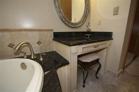 built in makeup vanity traditional bathroom