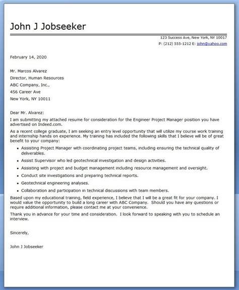 Cover Letter For Project Manager Application by Cover Letter Engineer Project Manager Career Tips And
