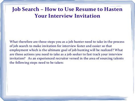 search how to use resume to hasten your