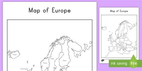 map of europe with and without names worksheet activity