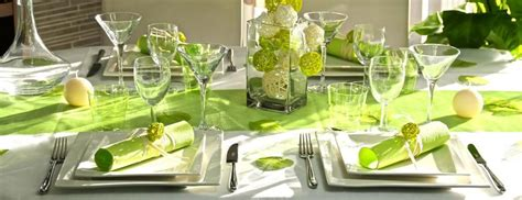 deco de table vert anis  blanc printemps deco de table
